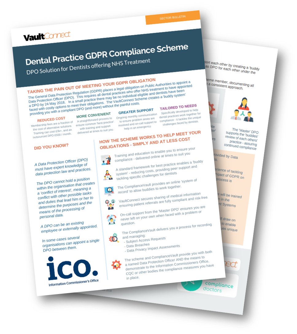 DPO solution for Dentists created by VaultConnect and Data